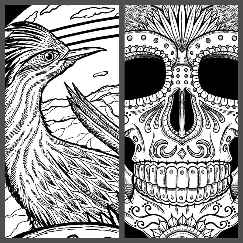 #wip of a new tee design 😃 #diadelosmuertos #nmart #newmexicoart #jonito14 #roadrunner