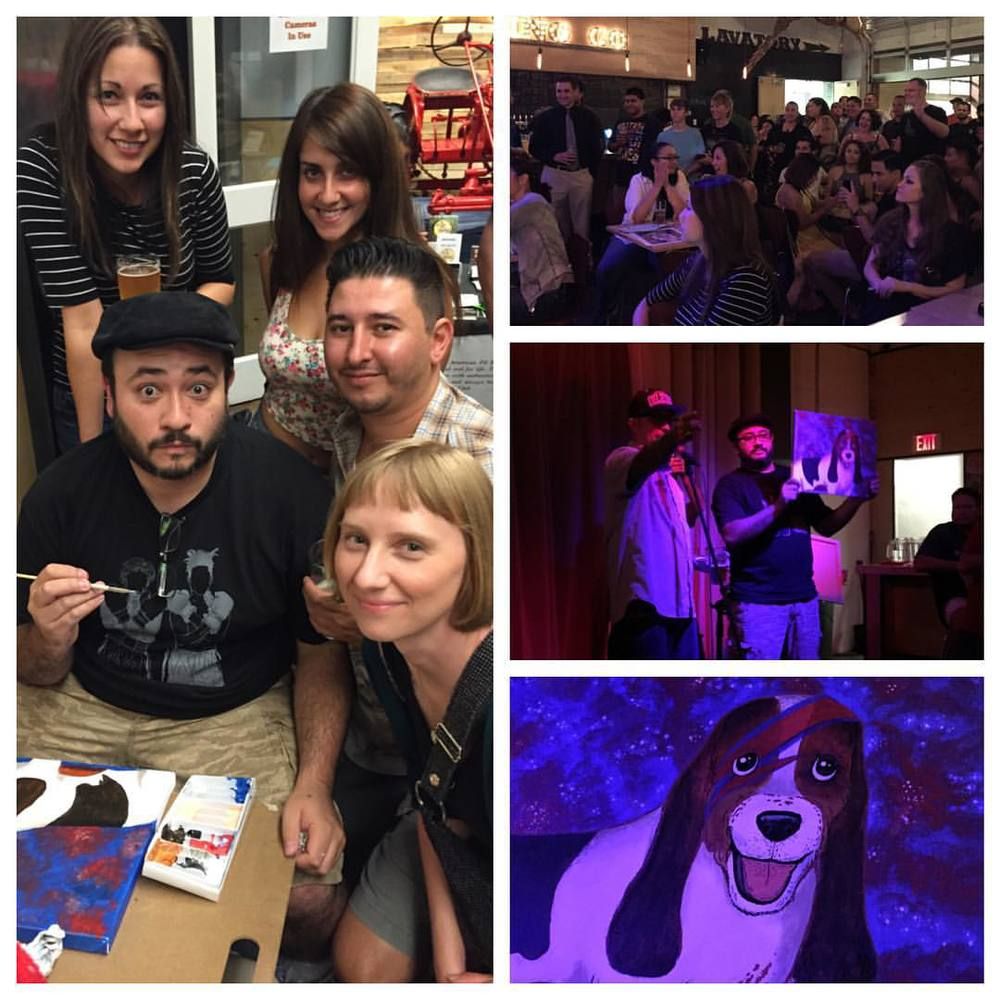 Another great Art Fight! Tractor Brewery was packed with art and dog lovers. I sold my Ziggy Stardust Basset Hound at auction, with the $ going to PACA NM. Lots of $ was raised tonight, and the art was top notch! 😃🐶💥