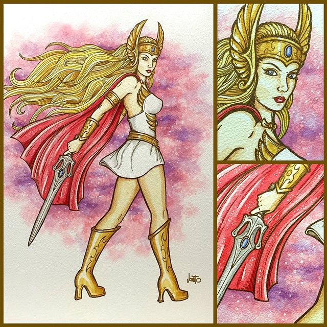 "Finished She-Ra for the upcoming 80s/90s cartoon art show ""Out of Time"". Ink & watercolor on paper. 🎨😃 #shera #princessofpower #motu #jonito"