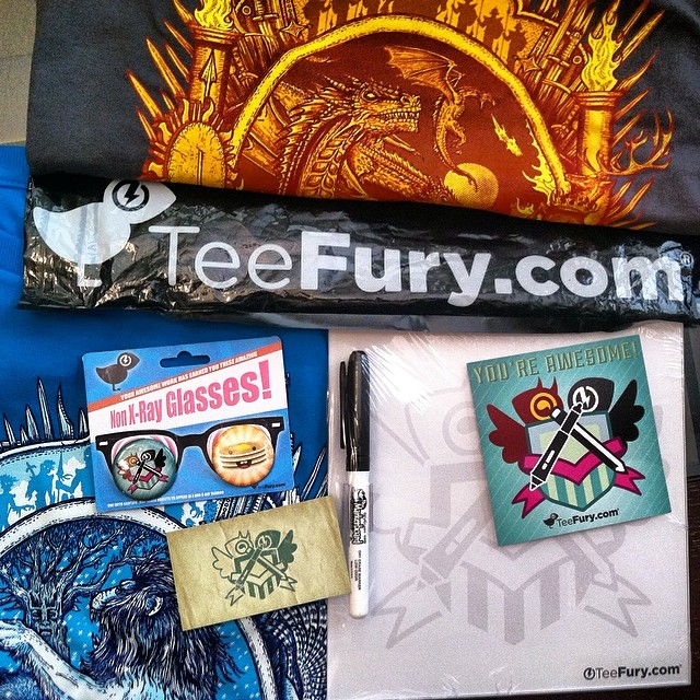 Got my tees and some extra goodies from #teefury today!! Thanks to all of you who bought tees… and helped support me ❤️😃👍