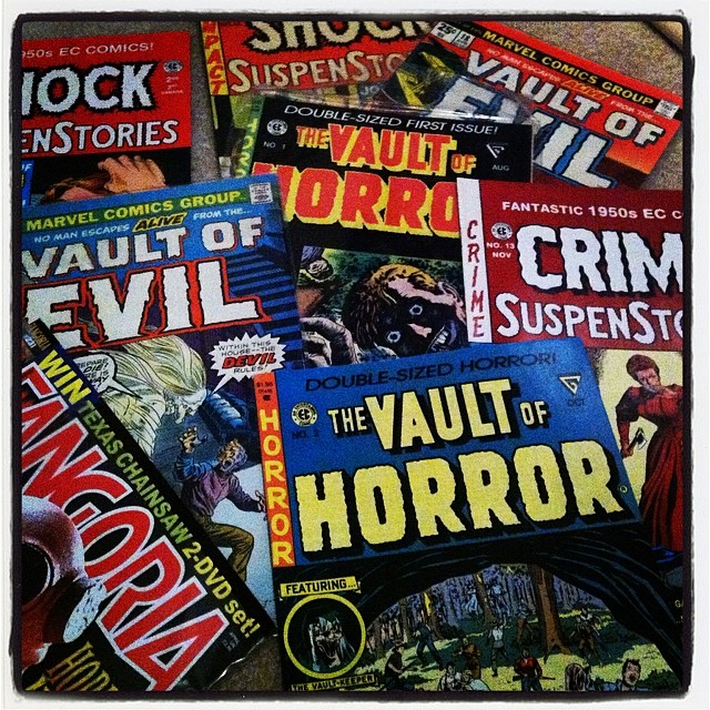 Finally got around to cleaning and organizing my office… Ran across these old gems! ❤️💀 #horrorcomics