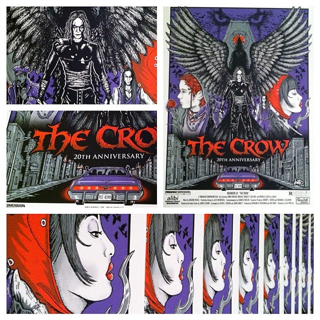 "My poster is all done for the screenings this weekend!! ""I like the pretty lights"" 👀 #thecrow #itcantrainallthetime #jonito"