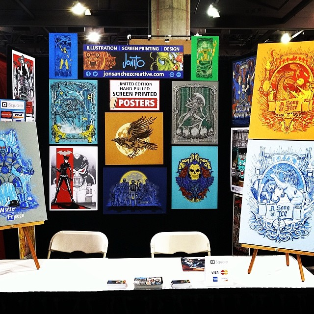 Preview night was awesome… Met lots of great artists. Today is supposed to be packed! Day 2 :D #phoenixcomiccon #jonito14 😃
