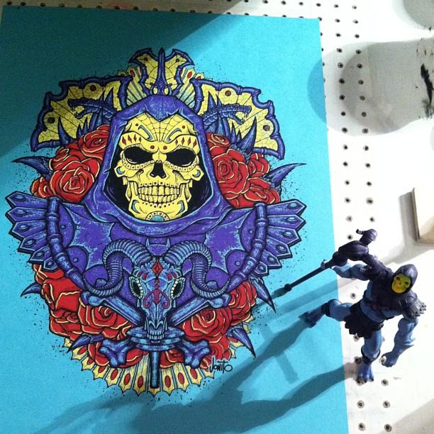 Skeletor Muerto print all done! #jonito #screenprinting #skeletor #diadelosmuertos #printinginthecoldwindsucks