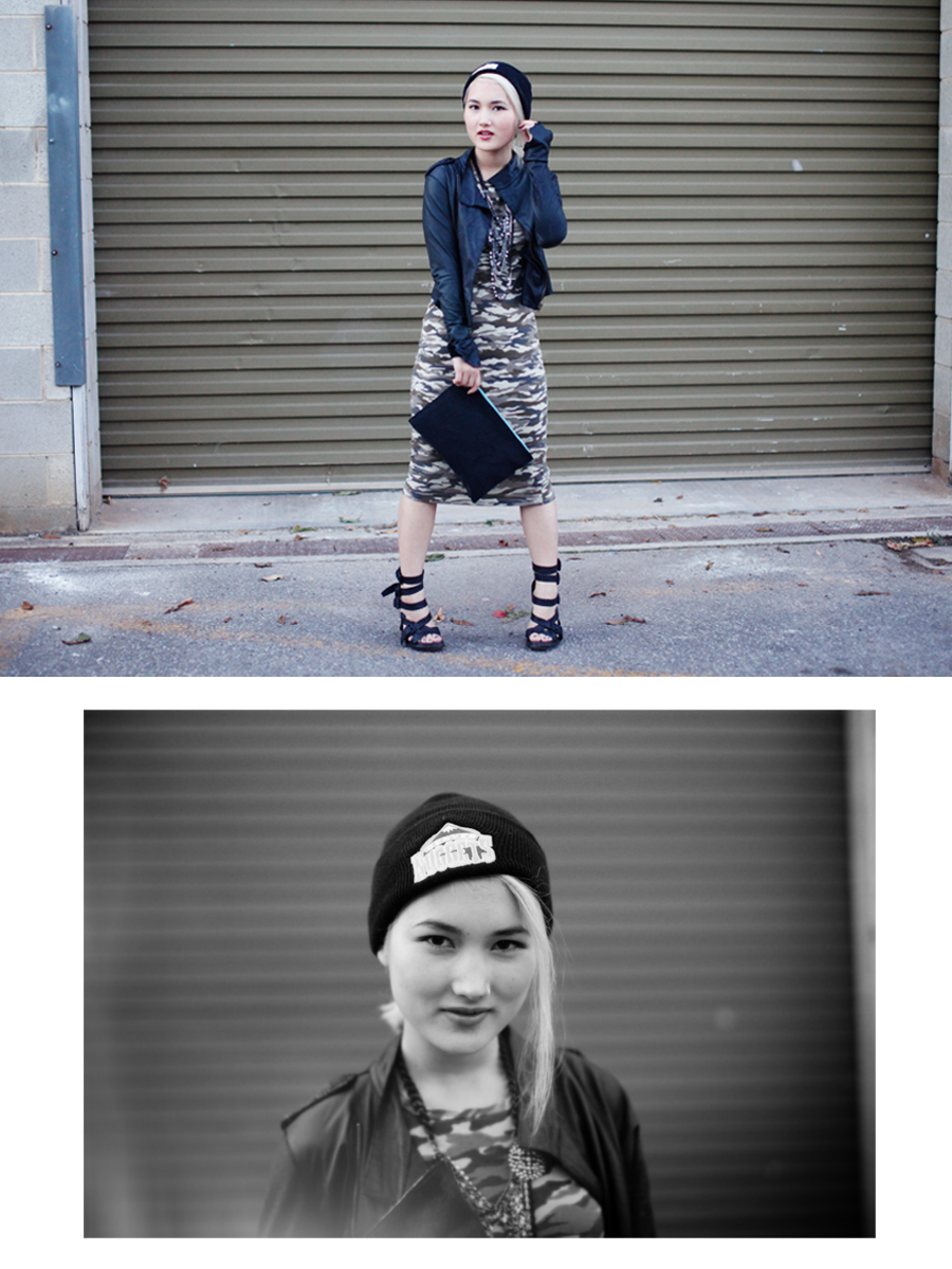 One Teaspoon leather jacket |  Supré camo dress  | Alexander Wang shoes | Denver Nuggets beanie | Mimco necklace (gift) | ASOS clutch (gift)  Photos by Danae Leslie
