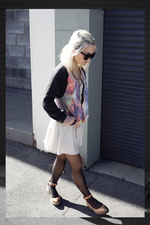 Ksubi Ara sunglasses(gift) | Gathering Eye necklace (gift) | Sway Chic bomber jacket (gift) | Finders Keepers dress | ASOS shoes Photos by Jake Seamer
