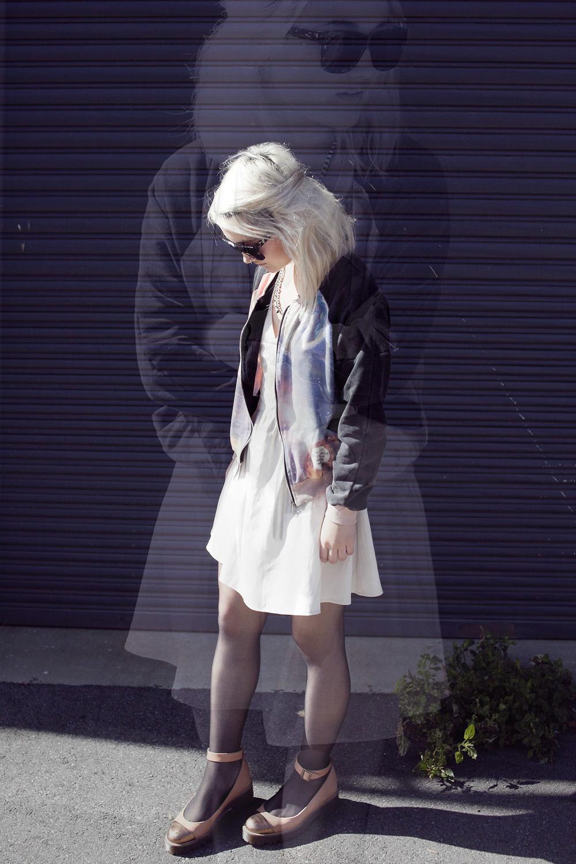 Ksubi Ara sunglasses(gift) |Gathering Eye necklace(gift) |Sway Chic bomber jacket(gift) | Finders Keepers dress |ASOS shoes