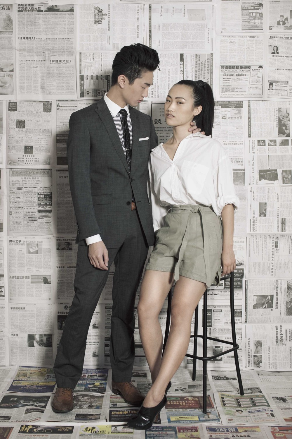 Jing wears: Yves Saint Laurent shirt, H&M leather shorts, Zara shoes. Pierre wears: Ben Sherman suit, Marcs belt, shirt and tie, Jack London tie clip, Armani Collezioni pocket square, Loake shoes.