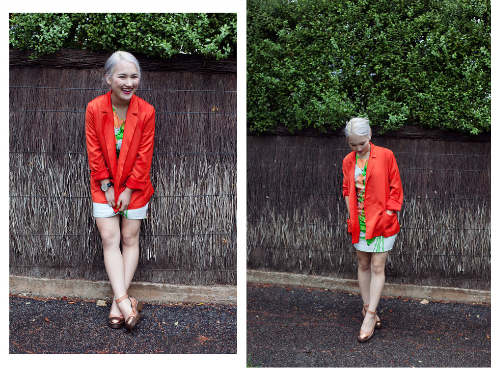 H&M Conscious Collection blazer | State of Georgia banana split dress (gift) | ASOS flats | Daniel Wellington nato strap watch (gift) Photos by Jake Seamer