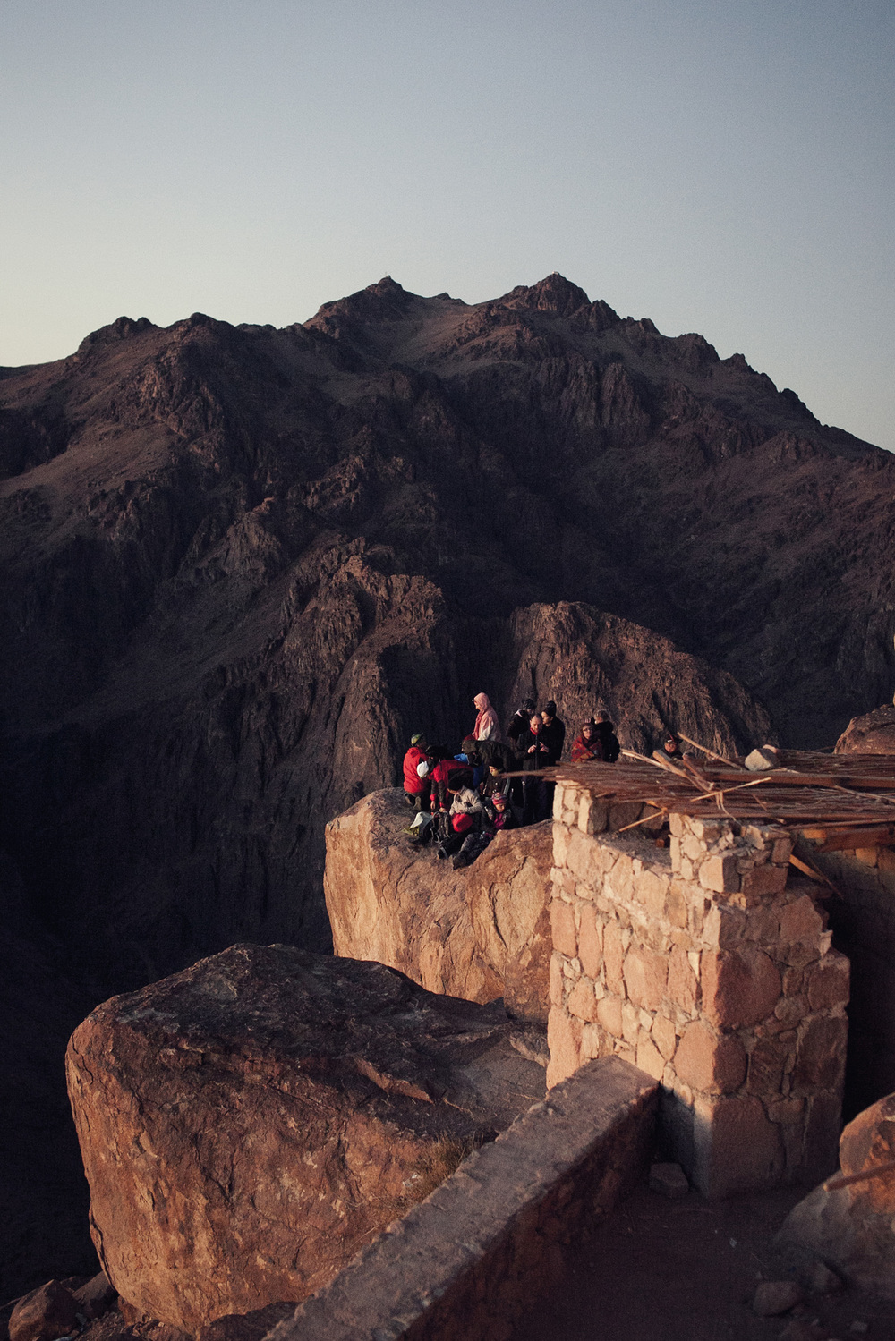 Tourists atop Mt Sinai witness the glory of the sunrise.