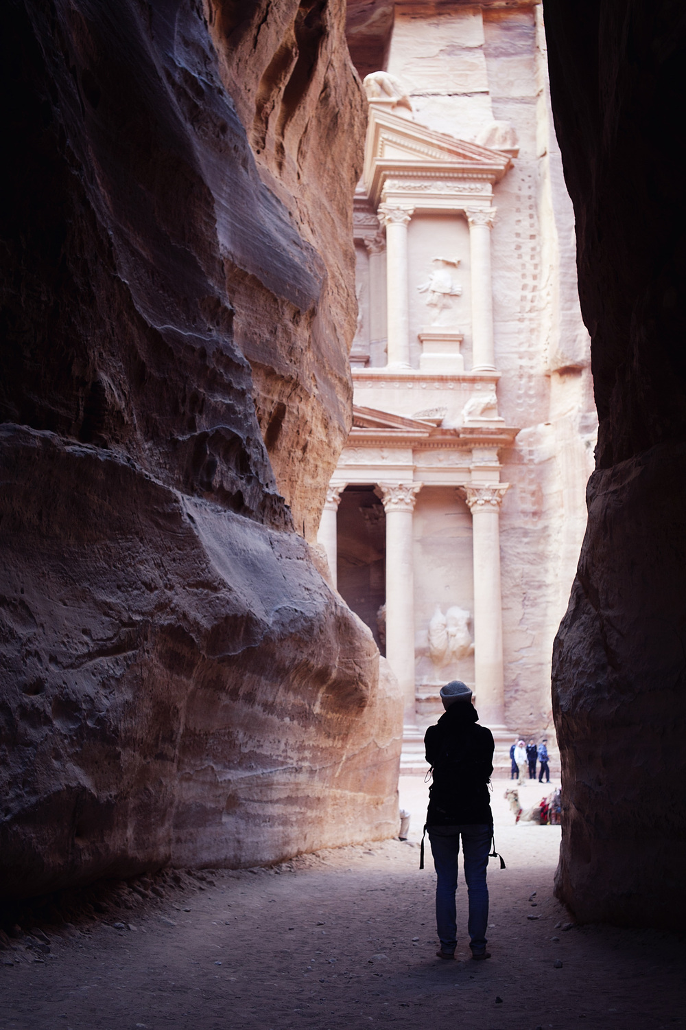 The famed treasury building in Petra.