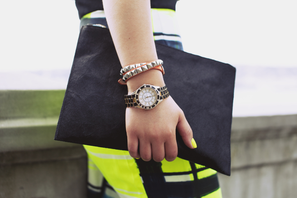 Studded neon bracelet from Cherri Bellini | Vintage watch | Illamasqua nail varnish in Rare | ASOS ponyhair clutch (gift)