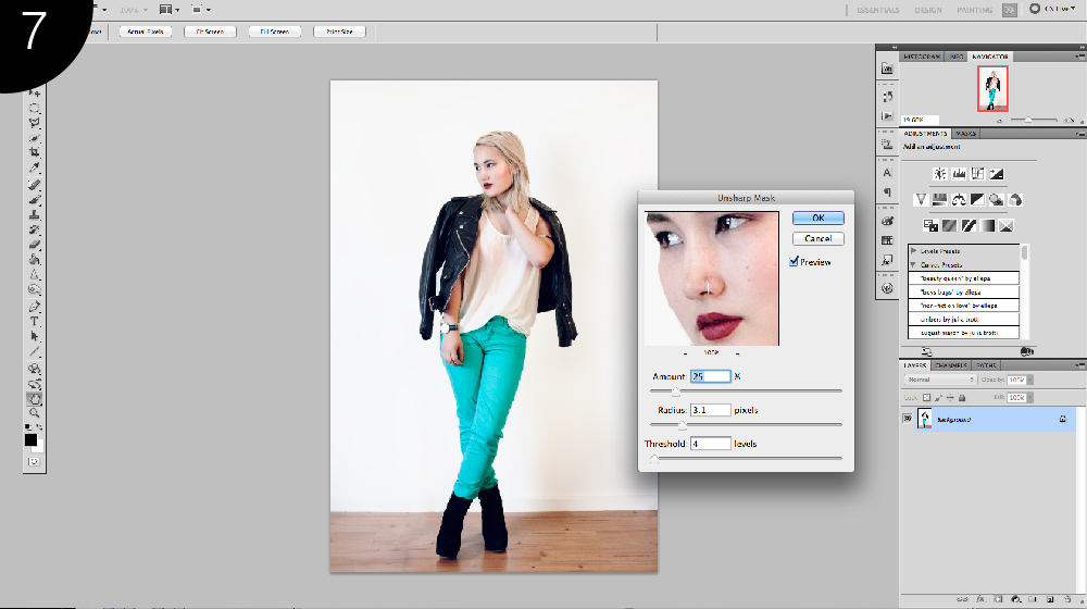 sharpening in photoshop