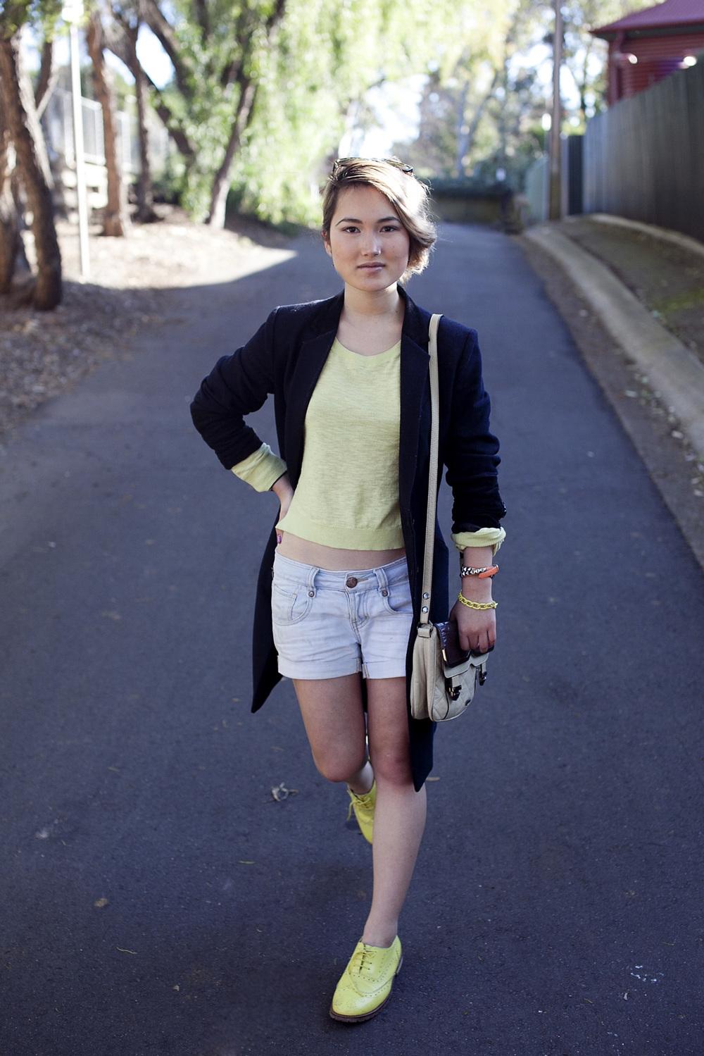 ASOS brogues | Sportsgirl jumper | Undercover byJun Takahashi for Uniqlo coat | Sass & Bide 'Bat for Boys' shorts