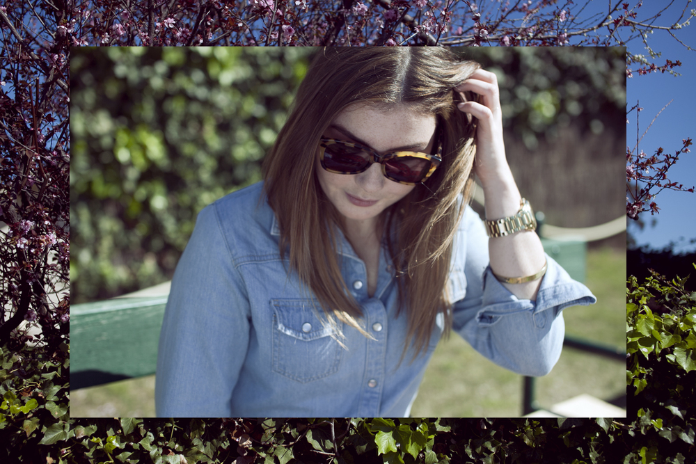 Karen Walker Perfect Day sunglasses | Wrangler chambray shirt