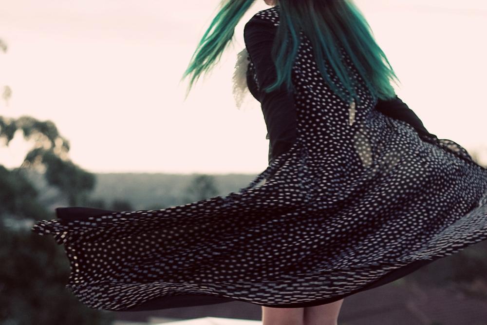 dip dye green hair