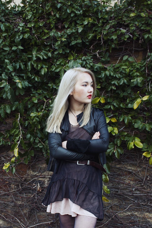 One Teaspoon leather jacket | Vintage sheer dress | ASOS Premium silk dress | Calvin Klein Jeans belt