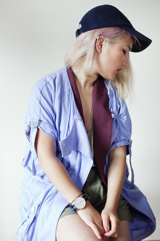 Sportsgirl cap | Sportsgirl ear cuff | Maurie & Eve Platinum parka | Cue waistcoat (gift from Westfield) | Sportsgirl shorts | Daniel Wellington warwick watch (gift)