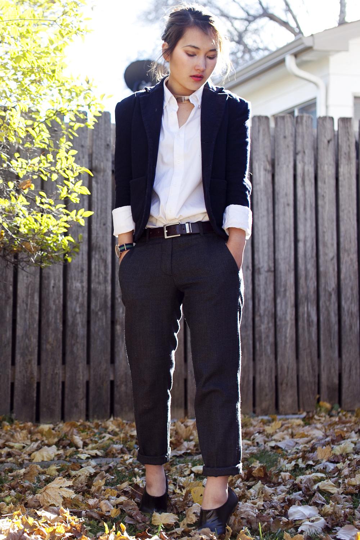 Jil Sander for Uniqlo men's shirt | Vintage boy's school blazer | Miu Miu trousers | Daniel Wellington watch (gift) | Zara heels | Sportsgirl necklace | Calvin Klein Jeans belt