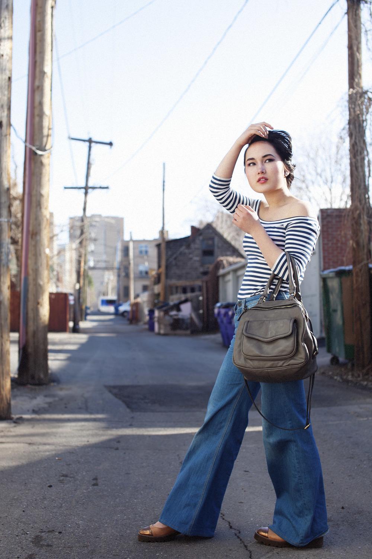 Sportmax boatneck top | 18th Amendment Colbert flared jeans | Zara bag | ASOS shoes