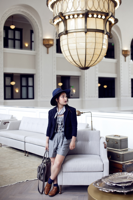 Emporio Armani playsuit | Vintage shrunken blazer | Urban Outfitters socks | Jil Sander oxford shoes (similar) | Catarzi xASOS hat (on sale!) | Zara bag | Vintage neckscarf