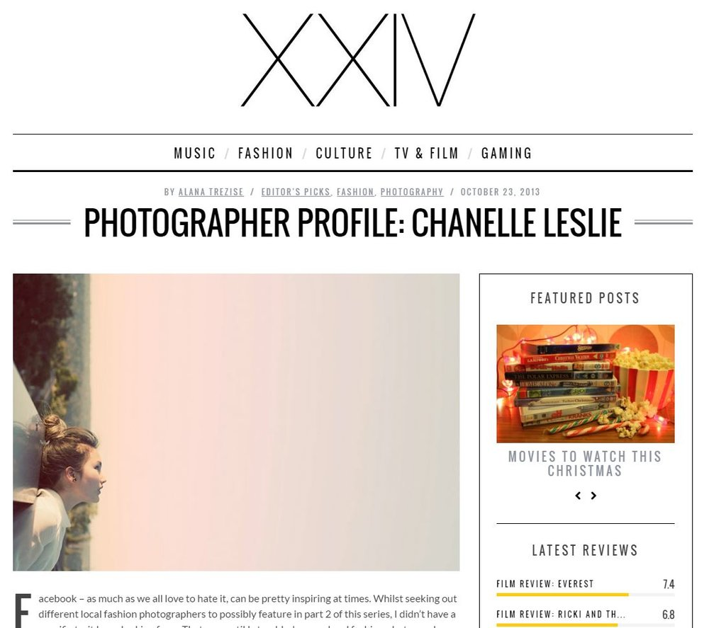 Featured in XXIV Magazine, 2013