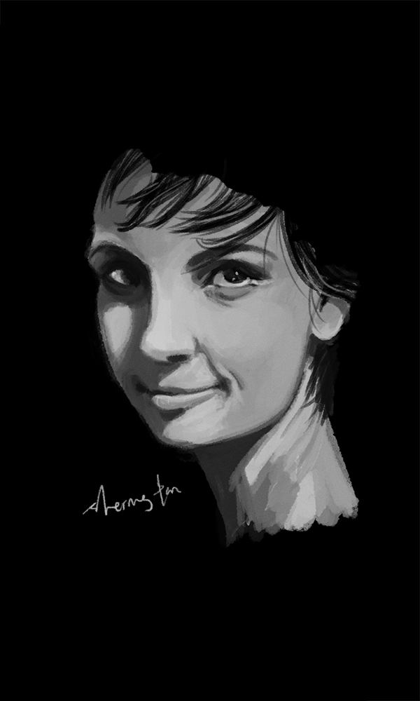 sometimes, i try to draw humans.      a quick 2 hour face study before bed time.    Eva Fontanelli, the sartorialist.