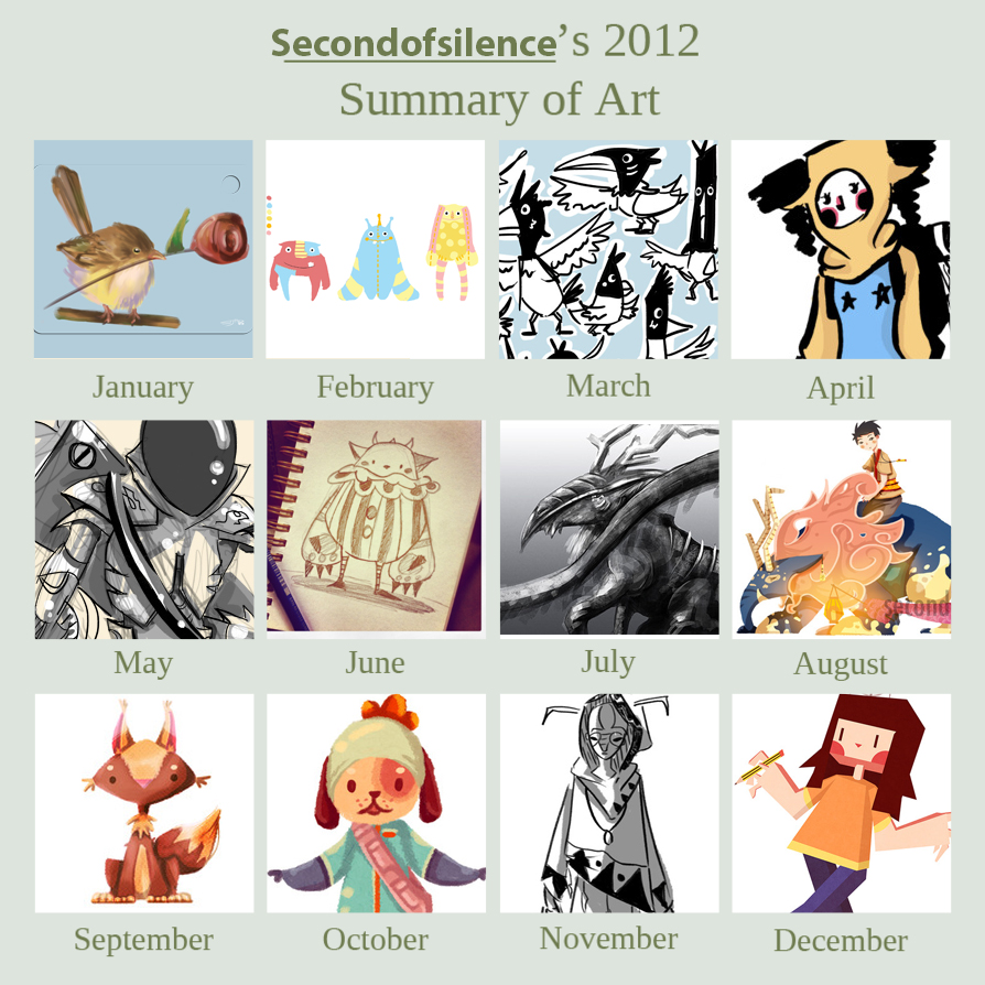 my art summary of 2012. 2012 was a pretty important year for me. entered my final year in animation school, decided to start being serious about digital painting, going on internship etc. it was a pretty hectic but fun year. in terms of art though, i feel like i could have done a lot better. right now, i'm busy working on my last grad film before i graduate. thus the lack of art updates. i will be graduating in around 2 to 3 more months. so you can expect a lot more stuff from me around march. (: i'm definitely going to be painting alot more this year.  my new years resolution this year is going to have to be improving my art even more and drawing backgrounds haha.  thank you to all my followers. thanks for sticking by me and waiting to see what new crappy art i'll post everyday. XD you guys are the biggest inspiration for me.  2013 onwards!