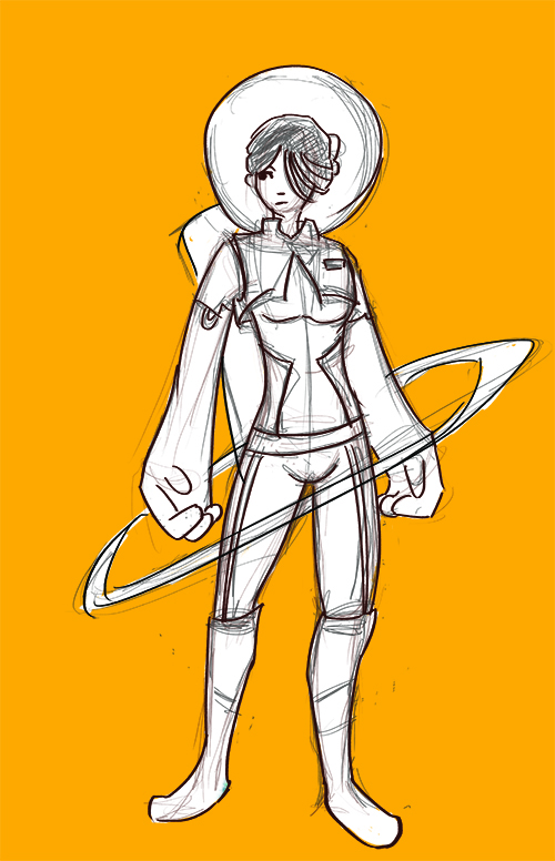 daily art challenge day 5, my favourite outfit. not something i own, but i have a thing for spacesuits.  sorry for the rough sketch. today was one of those days when i feel like everything i draw is crap. lol