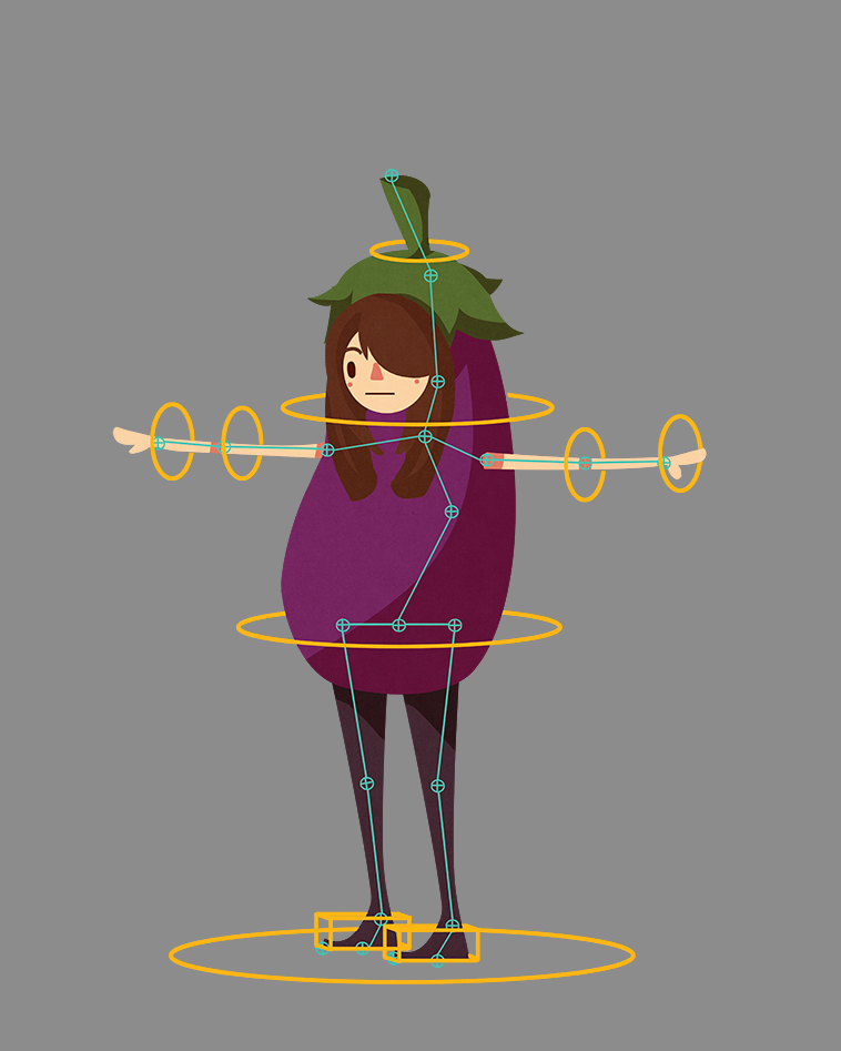 daily art challenge day 3, one, some or all of your friends.    My friend, xianwen, animator/rigger extraordinaire. she likes eggplants.