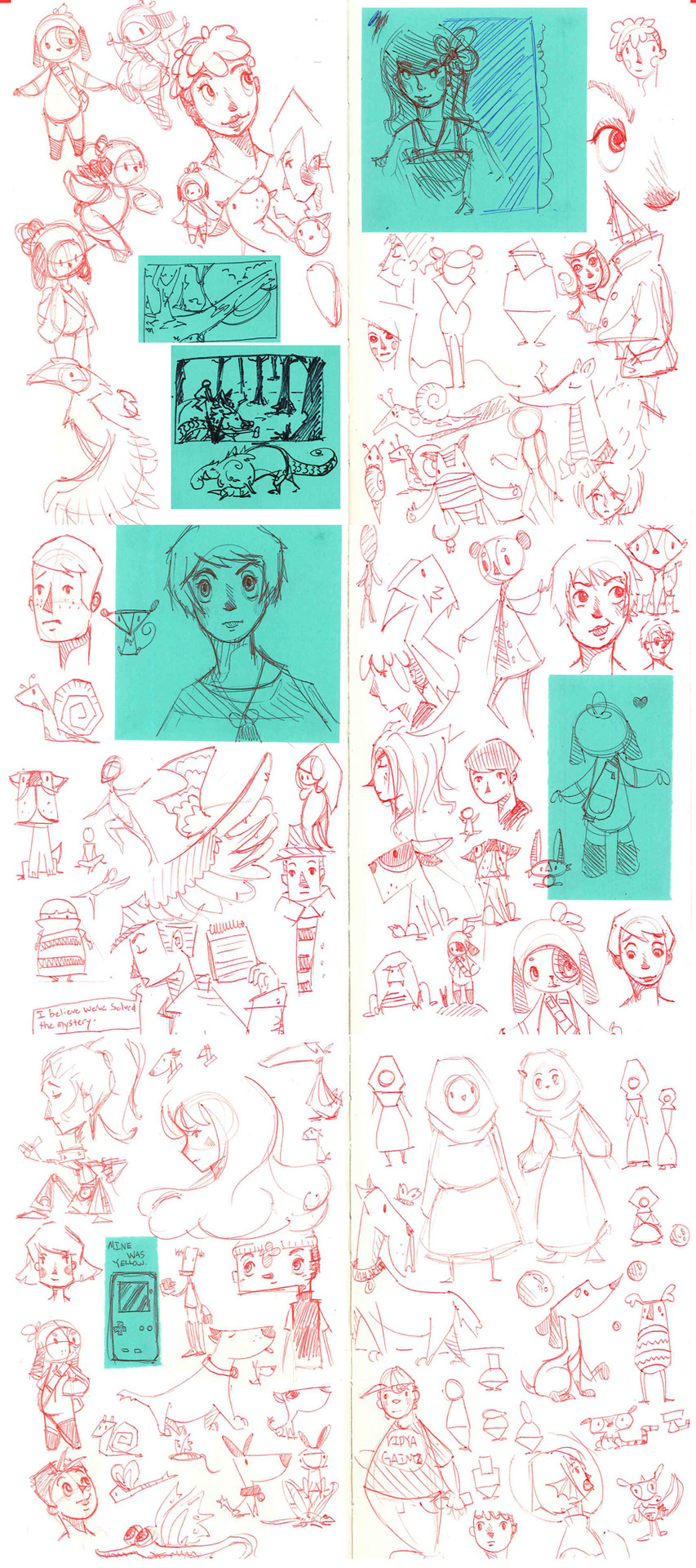 random crap doodle dump for the week. (even though the week isn't really over yet.)  i'll probably post one every sunday from now on.    the green stuff are post its.