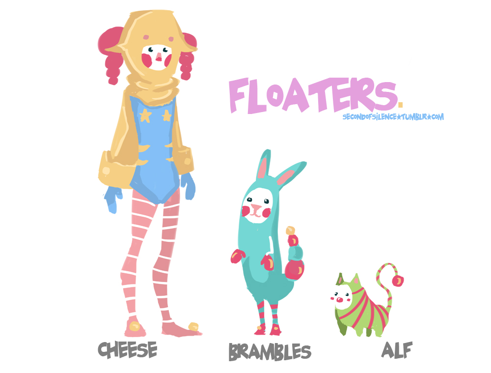 Floaters is about the adventures of Cheese and her 2 sidekicks, Brambles and Alf, as they travel through the universe in search for other different lifeforms for research purposes back home. Most of them aren't as friendly as you think, and others are just weird.