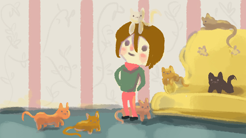 5 min doodle before bed time. molly and her 7 seven cats.