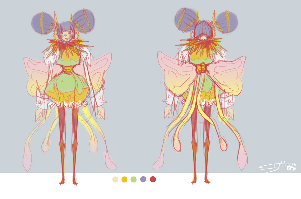 random butterfly lady sketch. (: obsessed with bright pastel colors lately.