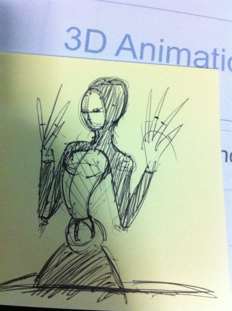 Random post-it sketch on my freshly printed stack of 3d animation notes for the new school semester.