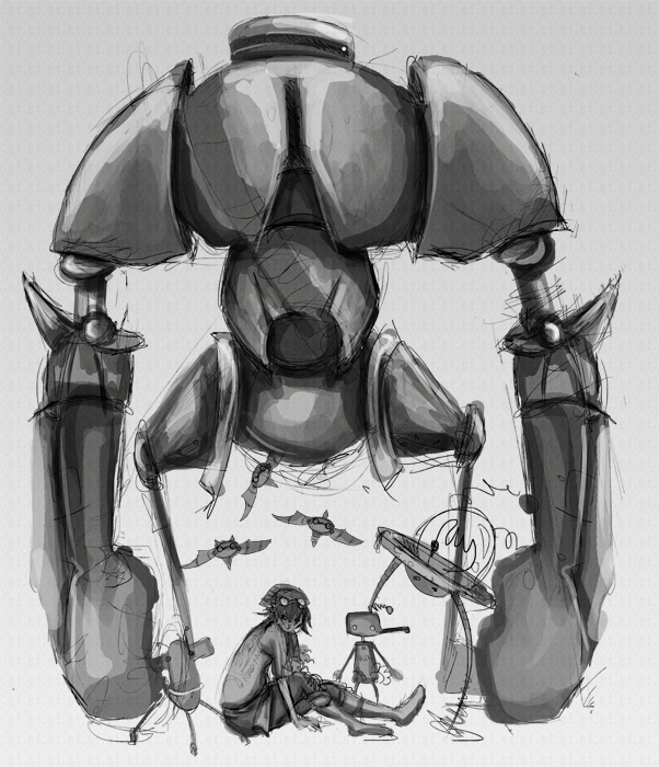 well… it was supposed to be a sketch. i might take this up one day again to colour it and finish it. why are all the drawing themes this week all robots. I CAN'T KEEP UP I WANT TO DO THEM ALL! D: