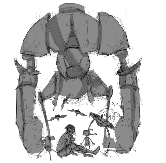 "WIP.   DSG #1622 theme is ""BLACK AND WHITE GROUP PORTRAIT OF  SEVERAL ROBOTS WITH THEIR HUMAN CREATOR""   wouldn't want to miss THIS awesome theme. :D but i'm really tempted to colour it. ):"
