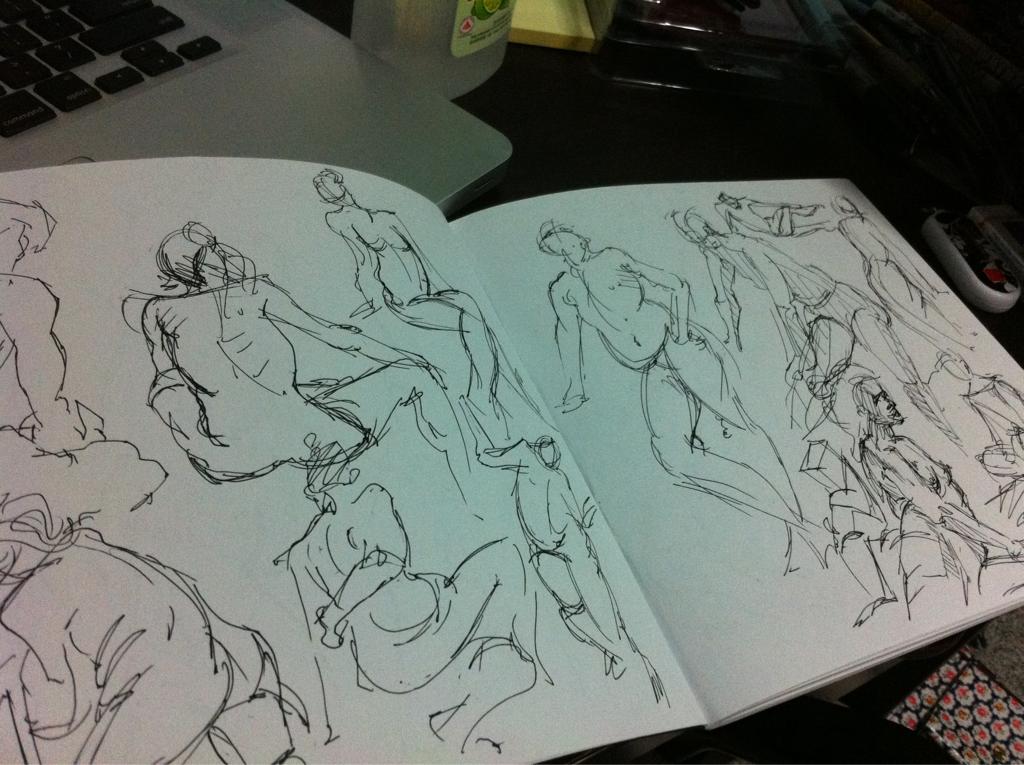 Gesture studies. Lots and lots of them. Going to do more tomorrow.
