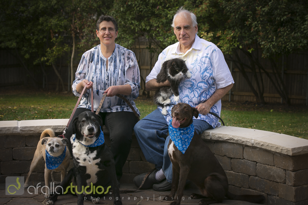 Claudia and her husband, Joey, along with (l to r) Scoobie, Big Dog, Rebecca, and Coco.