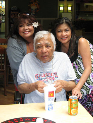 Dad's brother, Uncle John Afalla, with his two beautiful daughters, Roberta (left) and Jan (right).