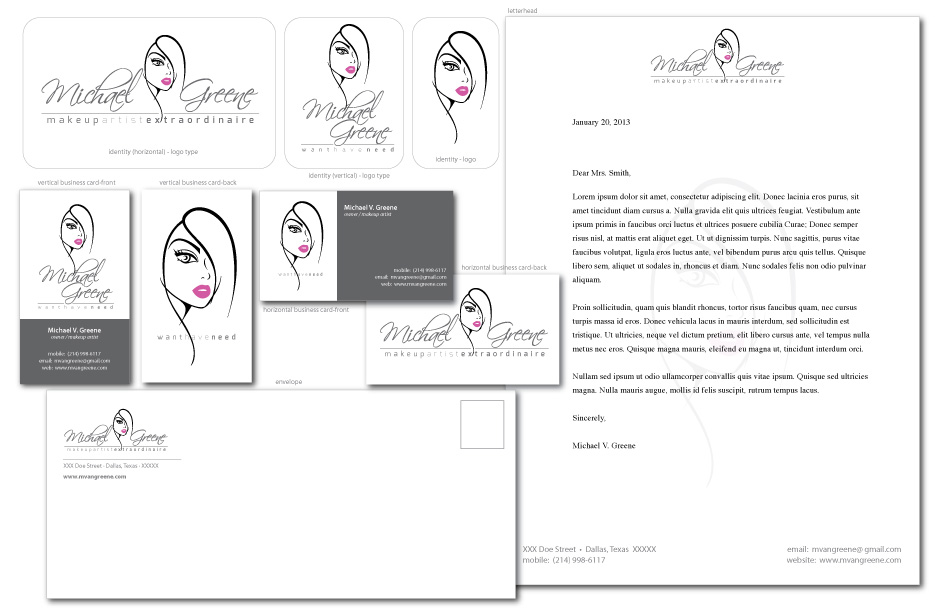 The preliminary composition layout when brand is applied. Although this sample shows a full spectrum of how the brand is being applied (i.e. business card, letterhead, envelope), most clients would start out with just business cards at first.