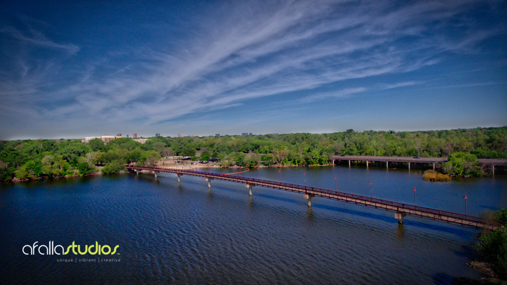 Above: White Rock Lake Park pedestrian bridge with dog park in the distance.