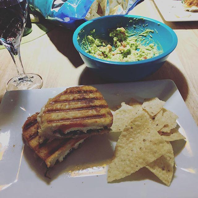 Happy Fourth dinner panini sandwich 🥪 with homemade guacamole. 😋 #happyfourth #dinner #panini