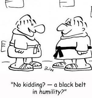 "Cartoon: ""No kidding? -- a black belt in  humility ?"""