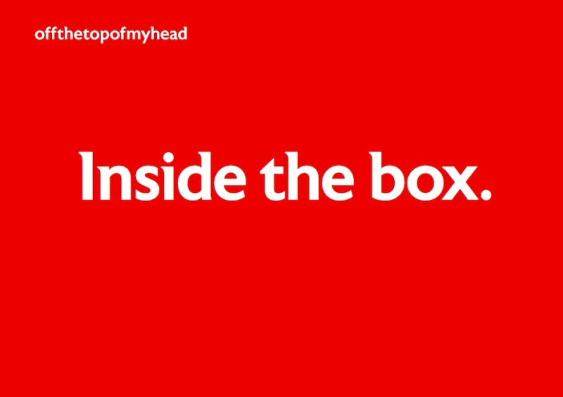 Front cover of ministract logo design proposal called 'Inside the box'
