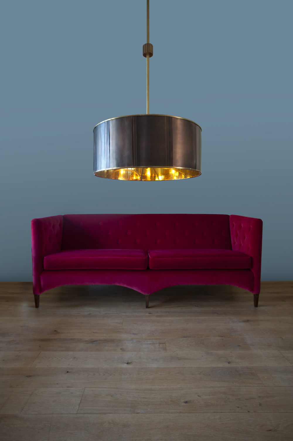 Stunning copper and brass light.