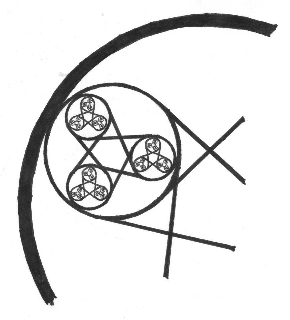 Figure 1:  Three infinity symbols intertwined with each other.  A 2D representation of the Merkabah emerges from this construct.
