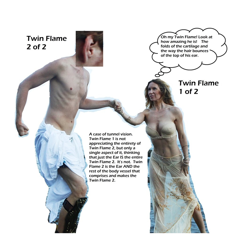 Figure 19: Panel B of an illustration of a person assigning Twin Flame status to PART of the full Twin Flame, and not recognizing that the true, full Twin Flame is more than just an isolated aspect of Twin Flame.