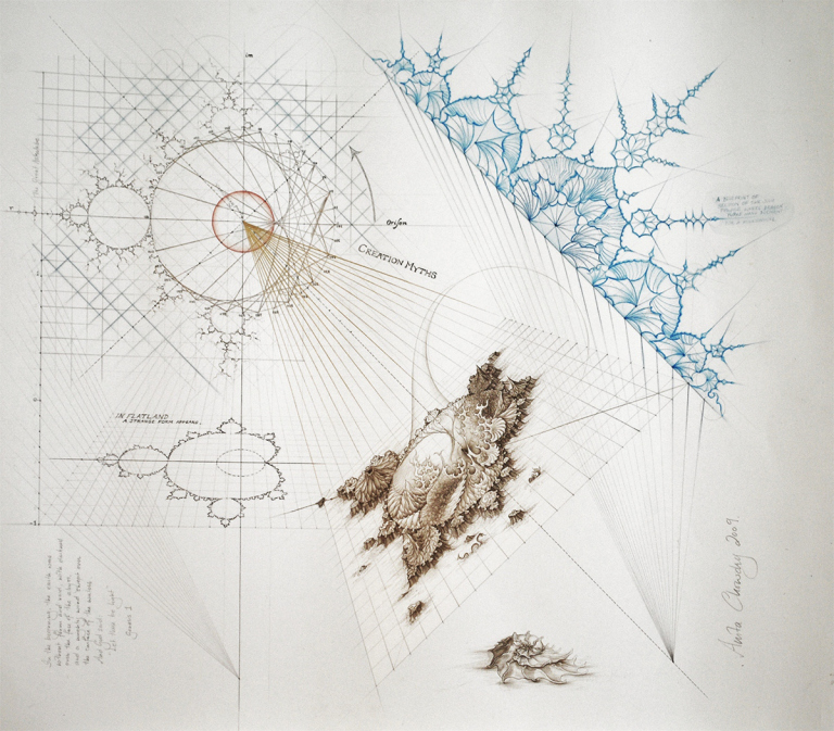 Figure 22: A concept of moving from the 2-Dimensional image of the Mandelbrot set, and zooming in, which introduces the dimension of depth, time and crystallized imagination, which is the basis of our shared reality.  Artist Credit and permission to use the above image provided by: Anita Chowdry @  https://anitachowdry.wordpress.com/2012/09/02/meditations-on-the-mandelbrot-set/
