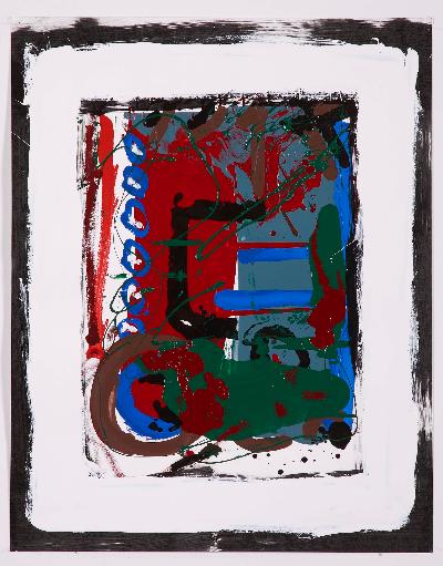 """a peek inside 2007    paint on paper 20""""x30"""""""